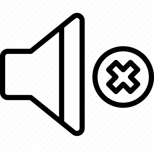 Sound, mute, outline, controls, essentials icon