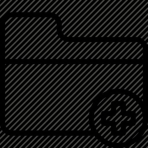 add, essentials, folder, outline icon