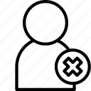 essentials, outline, person, remove, user icon