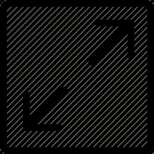 arrow, drag, image, maximize, right icon