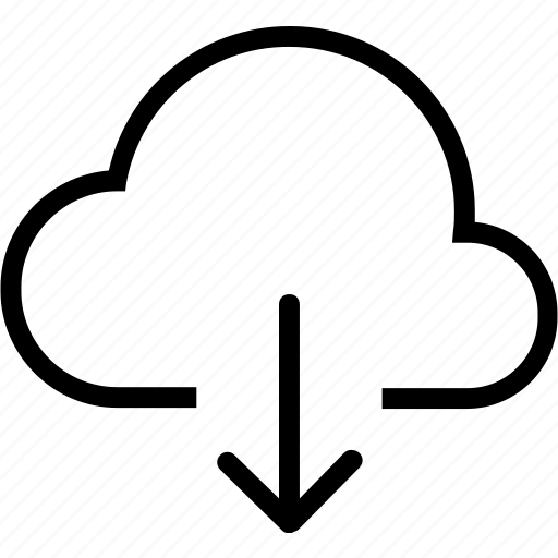 arrow, cloud, down, rain, weather icon