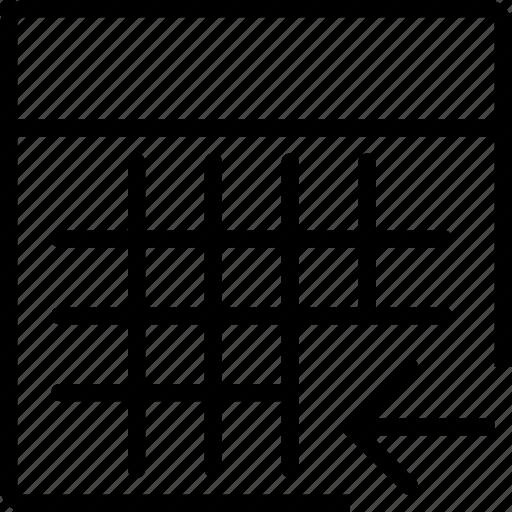 arrow, calculator, calculus, left, math, square icon