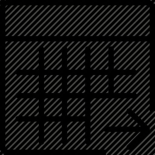 arrow, calculator, calculus, math, right, square icon