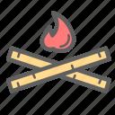 bonfire, burn, camping, fire, flame, hunter, tent