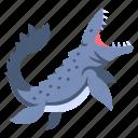 ancient, animal, dino, dinosaur, jurassic, mosasaurus, ocean icon