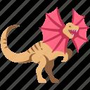 ancient, animal, dilophosaurus, dino, dinosaur, jurassic, wild icon