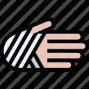 bandage, hand, injury, treatment icon
