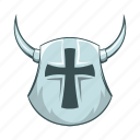 ancient, cartoon, cross, horn, medieval, shield, viking icon