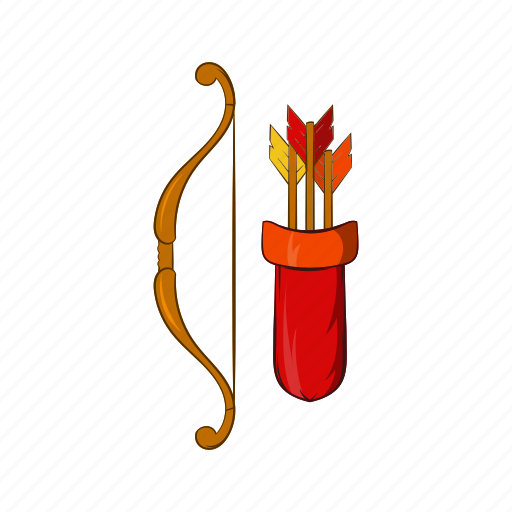 archery, arrow, bow, cartoon, longbow, medieval, weapon icon