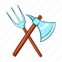axe, battle, cartoon, medieval, sharp, trident, weapon icon