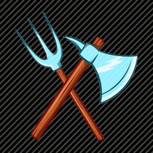 axe, battle, cartoon, medieval, sharp, trident, weapon icon