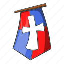 banner, cartoon, emblem, flag, knight, medieval, pennant icon