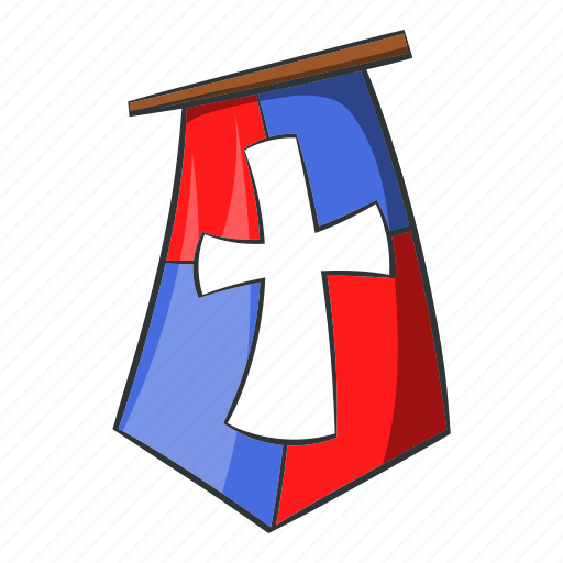 banner, cartoon, emblem, flag, knight, medieval, pennant icon