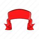 ancient, banner, bow, cartoon, label, red, ribbon icon