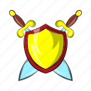 ancient, blade, cartoon, medieval, old, shield, sword icon