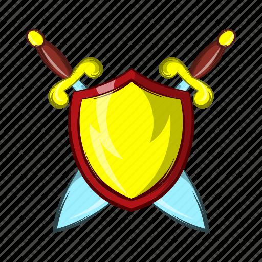 ancient, blade, cartoon, medieval, old, shield, sword icon