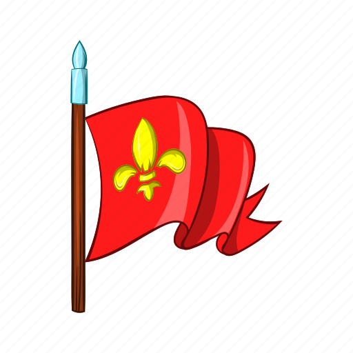 banner, battle, cartoon, flag, knight, medieval, red icon