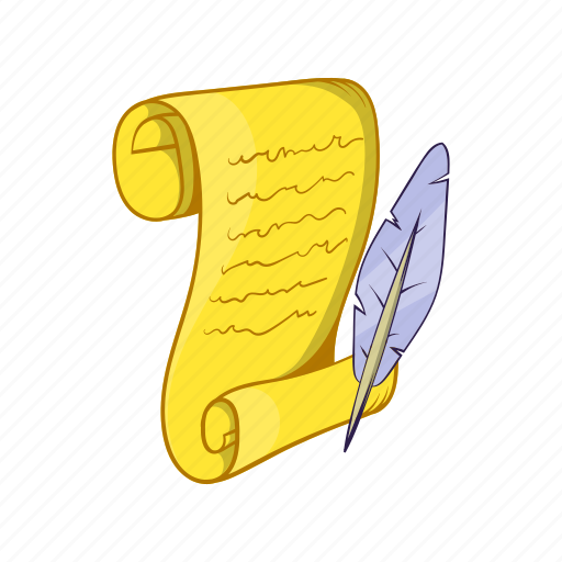 cartoon, feather, manuscript, old, paper, pen, roll icon