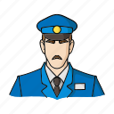 man, museum, security guard, staff, uniform, worker icon