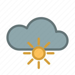 cloud, forecast, sun, sunny, warm, weather icon