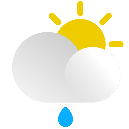 cloud, day, drop, forecast, rain, sun, weather icon