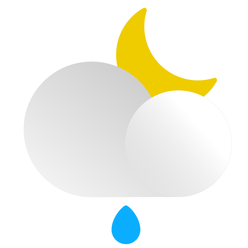 cloud, drop, forecast, moon, night, rain, weather icon
