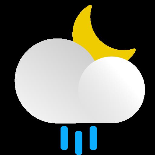 cloud, forecast, moon, night, precipitation, rain, weather icon