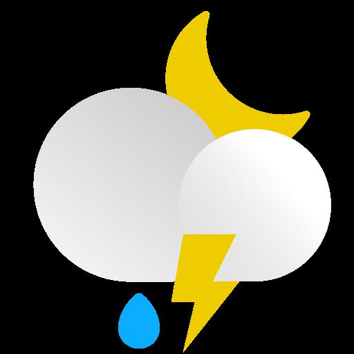 bolt, light, moon, night, rain, thunderstorm, weather icon