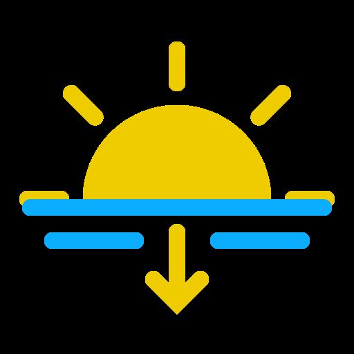 evening, horizon, sun, sundown, sunset, weather icon