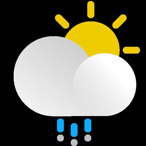 day, hail, precipitation, snow, storm, sun, weather icon