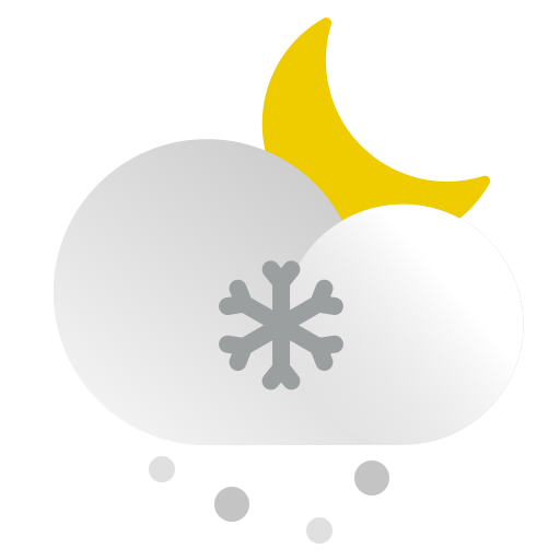 cloud, moon, night, precipitation, snow, snowing, weather icon