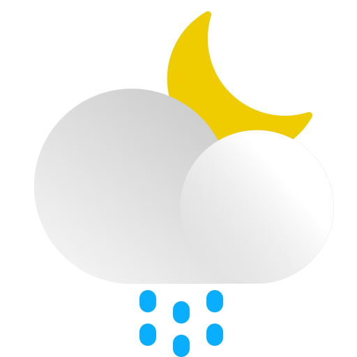 cloud, forecast, moon, night, rain, snow, weather icon