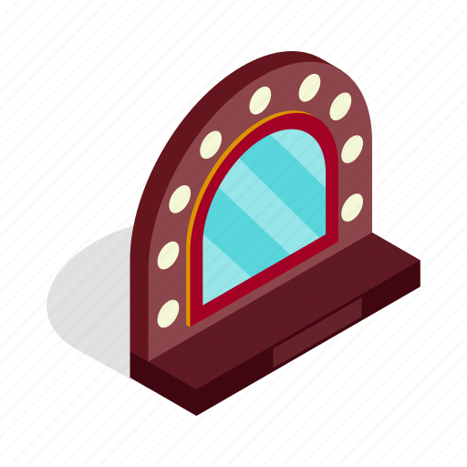 bright, bulb, frame, isometric, light, mirror, theater icon