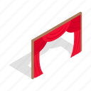 curtain, isometric, performance, show, stage, theater, velvet icon