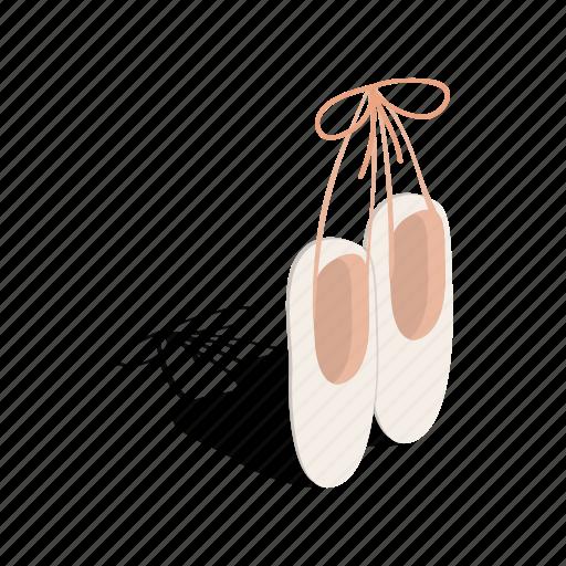 art, ballet, dance, female, isometric, pointe, shoe icon