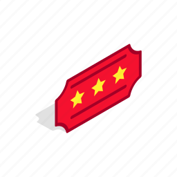 entry, isometric, red, star, theater, three, ticket icon