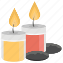 burning candles, candle light, decorative candle, light stand, spa candle icon