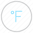 degree, fahrenheit, forecast, measurement, reading, temperature, weather icon