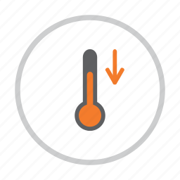 decrease, down, forecast, low, temperature, thermometer, weather icon