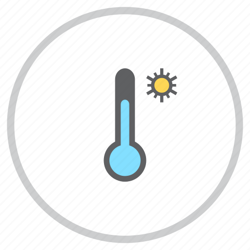 forecast, reading, sun, sunny, temperature, thermometer, weather icon