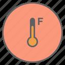 fahrenheit, forecast, measurement, reading, temperature, thermometer, weather icon