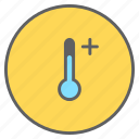 forecast, hot, increase, plus, temperature, thermometer, weather icon