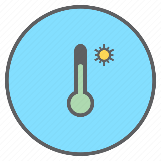 forecast, high, reading, sunny, temperature, thermometer, weather icon