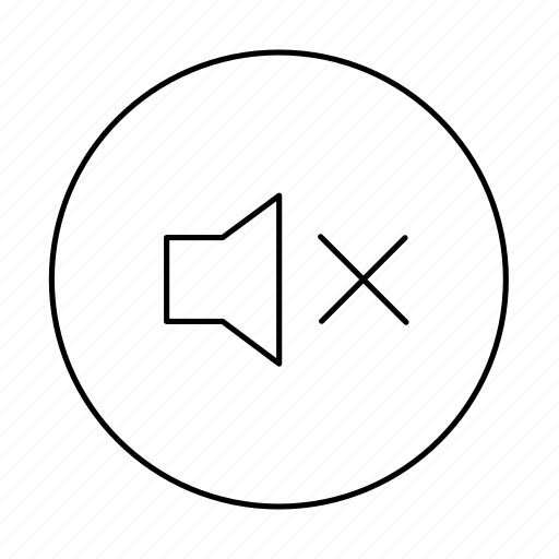circle, media, mute, muted, no sound, sound, stop sound icon