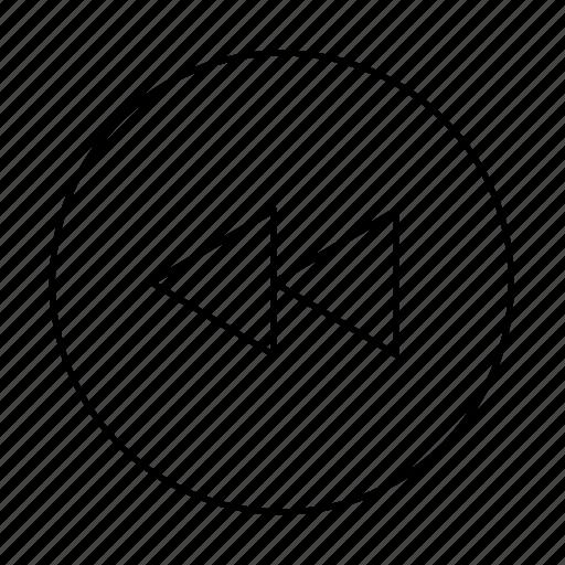 circle, fast rewind, go back, rewind icon