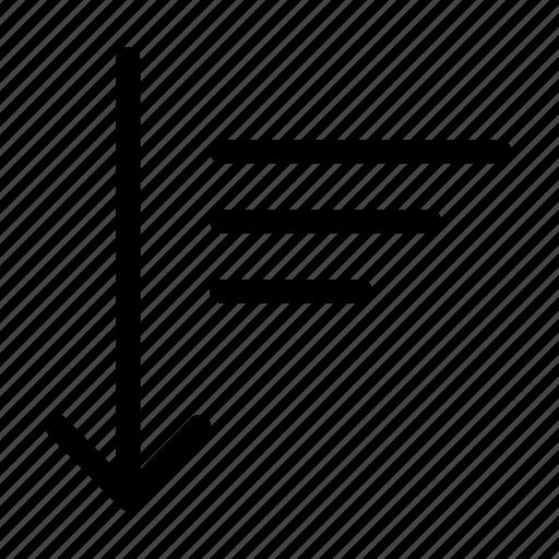 descending, order, sort icon
