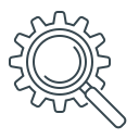 cogwheel, gear, magnifier, magnifying glass, seo icon