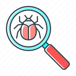 antivirus, bug, bug search, magnifier, search, seo, virus icon