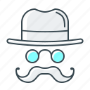 hat, internet, mustache, optimization, seo, white hat icon