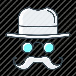 hat, internet, mustache, optimization, seo, white hat icon